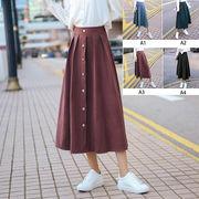 【即納】たっぷりドレープのピーチスキン/飾りフロントボタンスカート ミモレ丈 フレアスカート