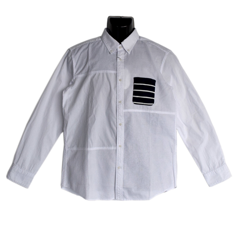 【2018SS新作】ニットボーダーポケ付き 異素材ブロック切替 ブロード ボタンダウンシャツ【割引対象外】