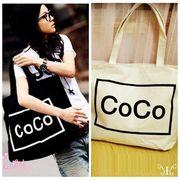 【即納775339】 COCO ロゴ トートバッグ プリント キャンバスバッグ カバン 買い物袋 shop bag