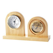 (インテリア・バラエティ雑貨)(フォトフレームクロック/記念時計)ひのき温度計付時計 H-306