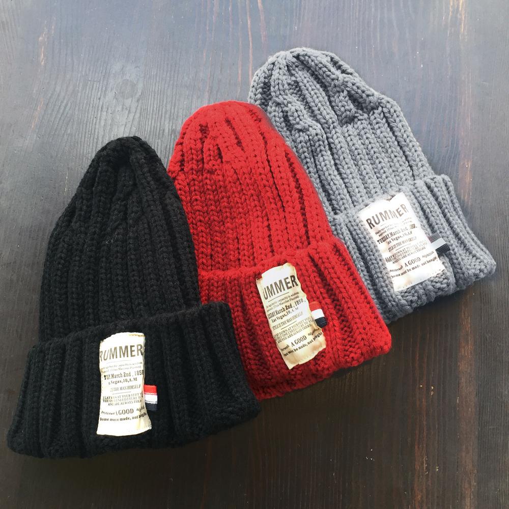▼MAGGIO▼ 【人気のリブ編み】小さめカラーボーダータグがアクセント♪ ラベル付リブ編みニット帽