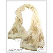 インド製薄型毛糸ビーズフラワー刺繍入りハンドメイドシルクウールストール IN322