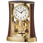 SEIKO セイコー 置き時計 アナログ 回転飾り 濃茶木目模様 BY427B