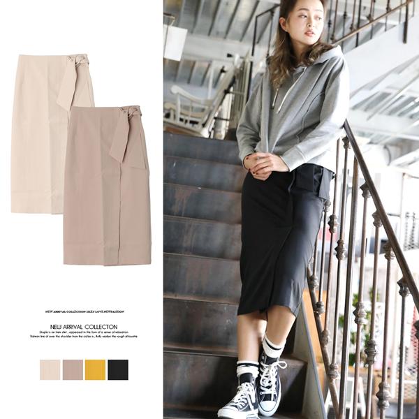 【2018春夏新作】エステルツイルラップタイトスカート/ロングスカート