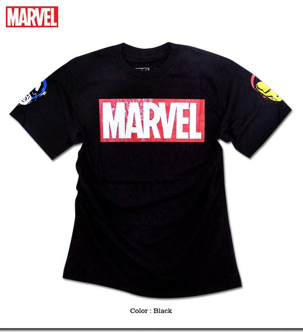 ★注目度抜群!!★人気アメコミ「MARVEL(マーベル)」のヒーローを両袖にプリントしたボックスロゴTシャツ