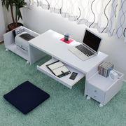 ロータイプデスク3点セットスライドテーブル 90cm幅 デスク+ラック+チェスト LOD-390-WH