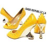 Sale♪LA直輸入♪22.5~27cm Shoe Republic LA ゴールドスパイクスタッズ付きエナメルパンプス【マンゴー】