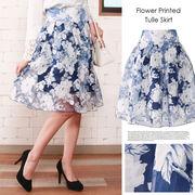 歩くたびに揺れる♪花柄チュール膝丈スカート/フラワー/フレアー/ボトムス/◆LF14S0029