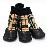ドロップシッピングOK★ドッグウェア 防水シューズ(チェック柄) (犬用靴下) サイズS-XL