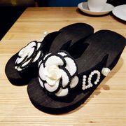 【即納776167】 カメリア NO5フラワー ラインストーン付 ビーチ サンダル 23~24.5cm スリッパ 靴