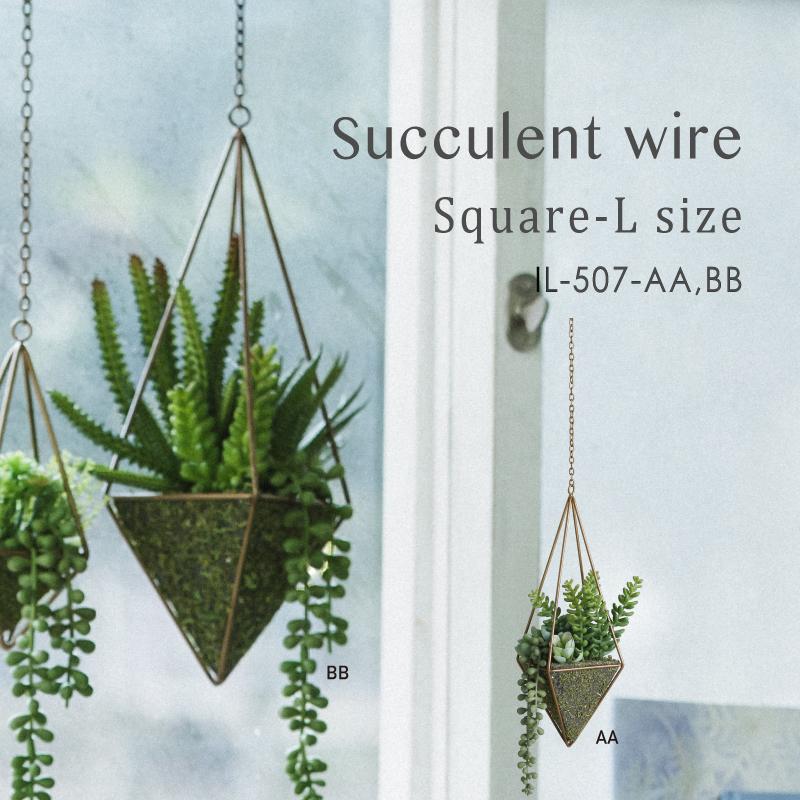 枯れない植物で作る手軽な癒し空間【サキュレントワイヤー・スクエア・L】2種展開