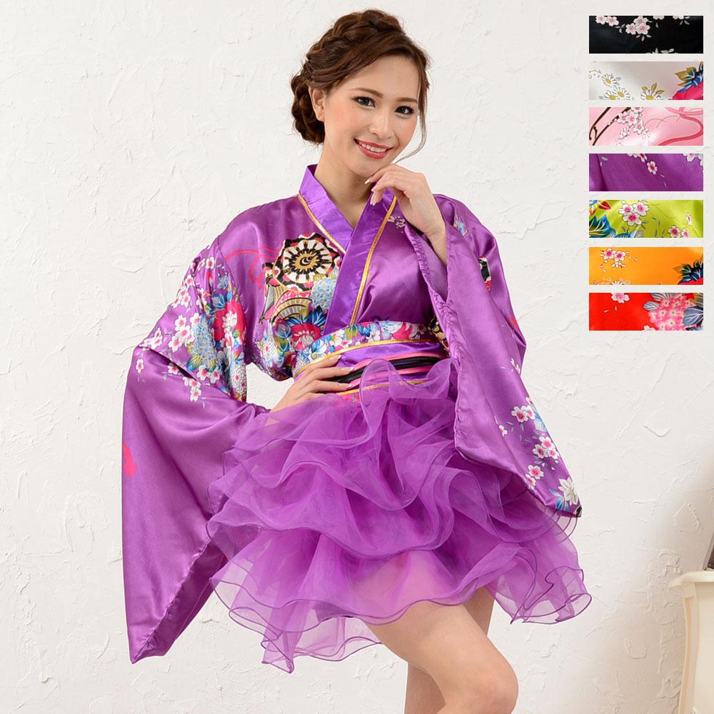 1050サテン和柄豪華花魁ミニ着物ドレス 和柄 よさこい 花魁 コスプレ キャバドレス