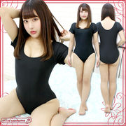 1206I■MB■送料無料■ ショートスリーブレオタード単品 色:黒 サイズ:M/BIG