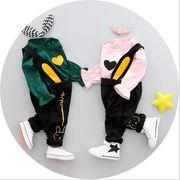 2018 春 子供のスーツ 愛 パターン 赤ちゃん 女の子 ストラップ 赤ちゃんセット