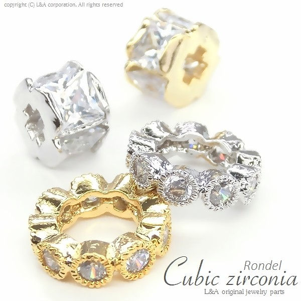 "★L&A original parts★Cubic zirconia★最高級鍍金★K16GP★上質ロンデル♪176 ""Cubic Rondel"""