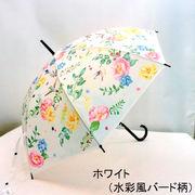 【雨傘】【長傘】【ビニール傘】58cmPOE水彩風バード柄ビニールジャンプ傘
