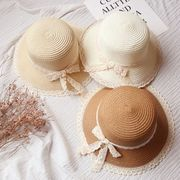 ★春夏新作★ 麦わら帽子 日除け帽 子供 UVカット 麦わらハット 帽子 可愛い リボン