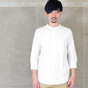 ストレッチオックスバンドカラーシャツ 七分袖