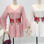 初回送料無料 2018心地良い 刺繍 ワンマイルウェア 連体式 パンツ 大人気 全4色 dyibh-18cf20 春夏 新作