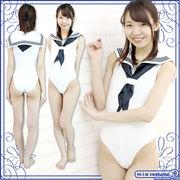 ■送料無料■ セーラーノースリーブレオタード 色:白 サイズ:M/BIG