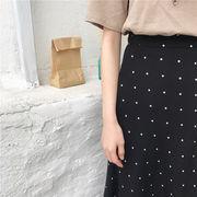 新しいデザイン 春 韓国風 アンティーク調 ハイウエスト 女 スカート 夏 中長デザイン