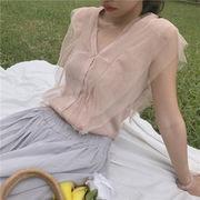 春夏 新しいデザイン 韓国風 気質 何でも似合う フリル メッシュ + 襟 シングル列ボ