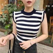 夏服 新しいデザイン 韓国風 ストライプス ニット 女 ヘッジ 薄いスタイル ストレッチ