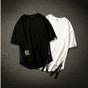 Tシャツ ロング丈半袖Tシャツ サイドファスナー メンズ夏服