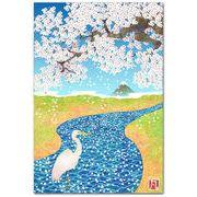 和風イラストポストカード 桜川