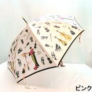 【日本製】【雨傘】【長傘】甲州織生地ホグシ織楽器柄タッセル付手元ジャンプ傘