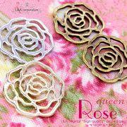 """★L&A Original charm★透かしの薔薇♪ローズチャーム★K16GP&本ロジウム&金古美""""Queen Rose"""""""