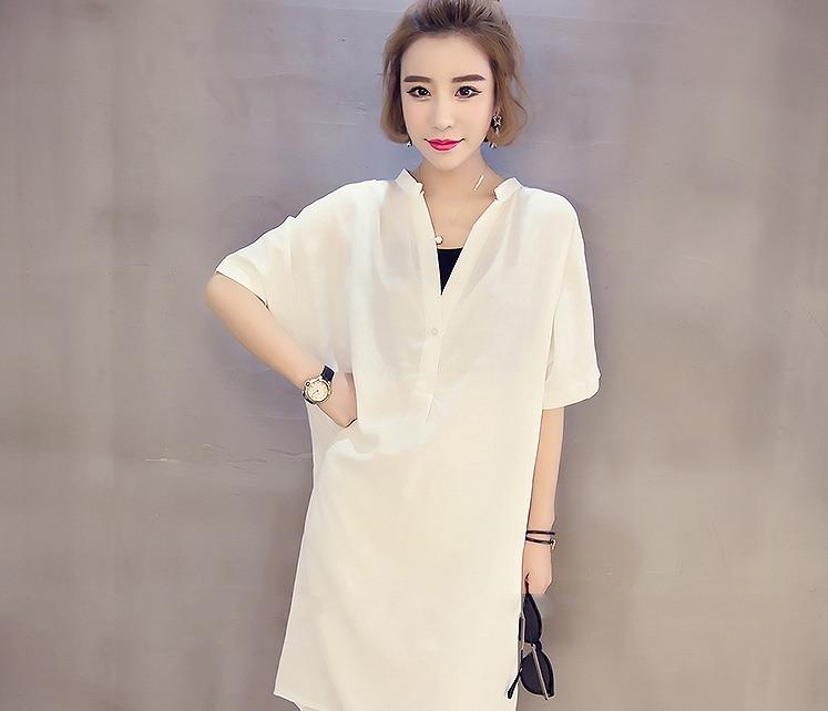 【大きいサイズXL-4XL】ファッションワンピース♪ホワイト/ブラック2色展開◆