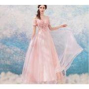 2018 エンジェル ウェディングドレス 朦胧 仙气 ピンク ストラップレス 花嫁 結婚式 結婚式