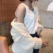 韓国風 ルース 着やせ 短いスタイル 単一色 アウトドア ノースリーブ キャミソール 女