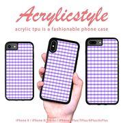 iPhone 7 8 X ケース チェック柄 紫