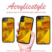 iPhone 7 8 X ケース 幾何学模様 宝石 黄色 イエローー