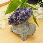 激レア! アメジストと熔岩石のコラボ 手彫り 彫刻 小亀 629g   天然石 インテリア 置物