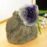 激レア! アメジストと熔岩石のコラボ 手彫り 彫刻 フクロウ 1816g   天然石 インテリア 置物