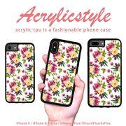 iPhone 7 8 X ケース 花柄 バラ 草模様 水彩風 北欧