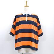 【2018春夏新作】20/-天竺 ボーダー ラガーシャツ(リングジップ)