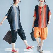 【春夏新作】ファッションTシャツ♪ブラック/オレンジ2色展開◆