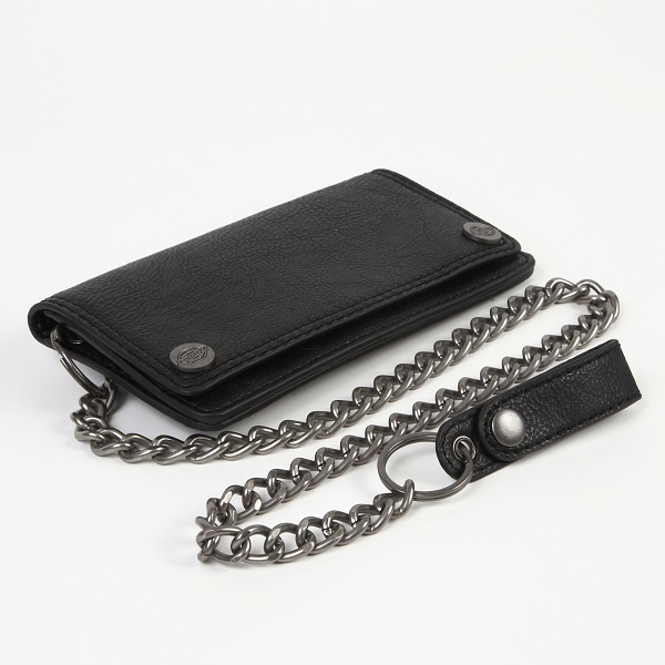 Dickies ディッキーズ  メタル製チェーン付き長財布 ブラック色 本革財布 USA直輸入モデル 31DI3001