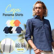【improves】カプリシャツ リネンシャツ 7分袖