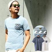 【2018SS新作】 メンズ コンチョ釦 ポケット波柄Tシャツ