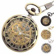 ポケットウォッチ 懐中時計 手巻き スケルトン 全4色 シースルー PWA001 メンズ懐中時計