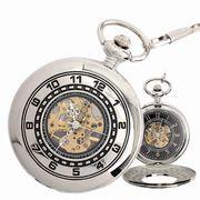 ポケットウォッチ 懐中時計 手巻き スケルトン 蓋付き シースルー  PWA006 メンズ懐中時計