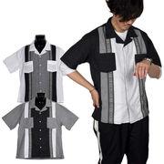 【2018SS新作】エスニックジャカードテープ使い オープンカラー 半袖 セレモニーシャツ