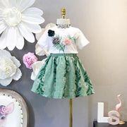 セットアップ 子供服 3-8歳 95-130cm 夏 Tシャツ+スカート 女の子 2点セット 花柄