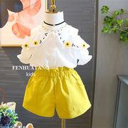 キッズセットアップ 子供服 7-15# 夏 Tシャツ+短パン パンツ 2色 女の子 2点セット