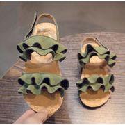 新作 女の靴 3色 可愛いダブルフリル子供サンダル 女の子 サンダル/ビーチサンダル/フラットサンダル